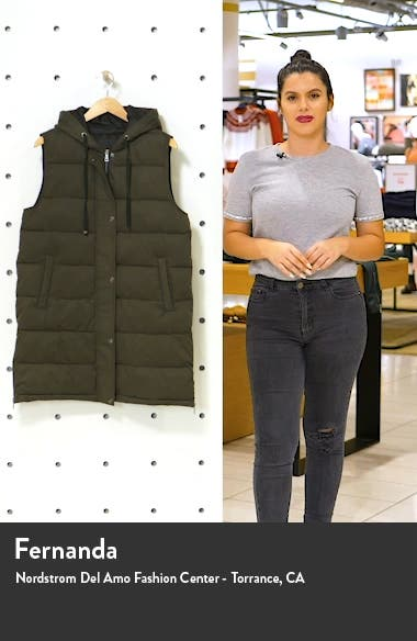 Long Hooded Puffer Vest, sales video thumbnail