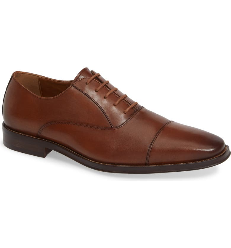 NORDSTROM Men's Shop Bryan Cap Toe Oxford, Main, color, TAN LEATHER
