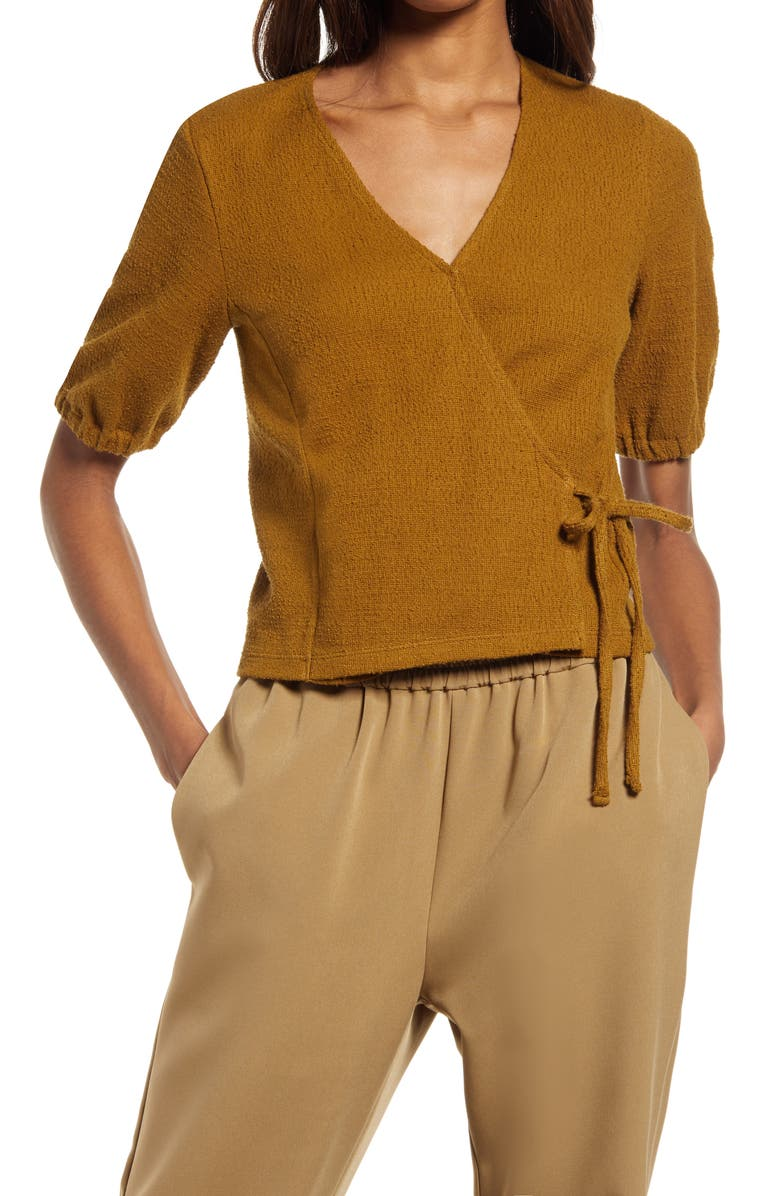 MADEWELL Texture & Thread Puff-Sleeve Wrap Top, Main, color, WEATHERED OLIVE