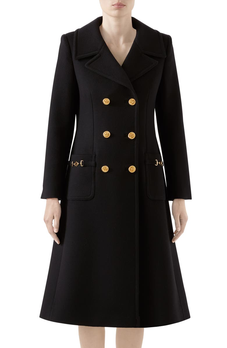 GUCCI Double Breasted Wool Coat, Main, color, 001