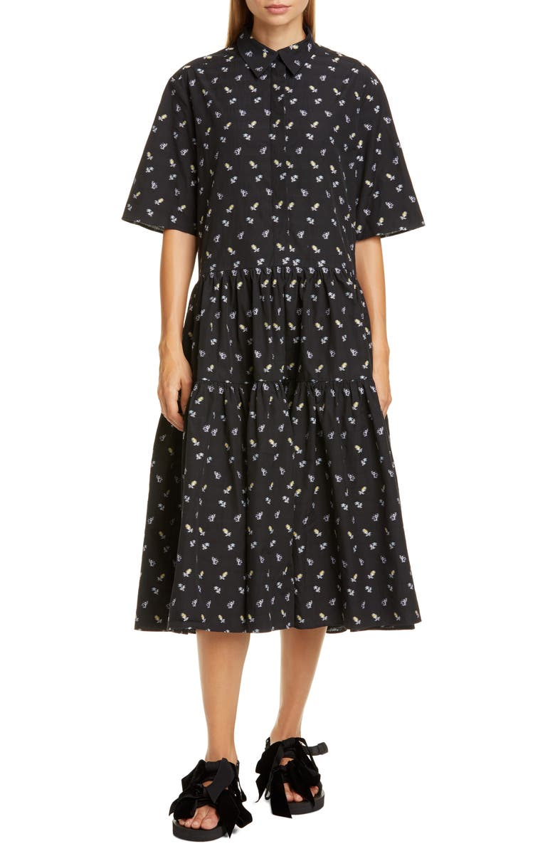 CECILIE BAHNSEN Primrose Floral Cotton Poplin Midi Shirtdress, Main, color, 001