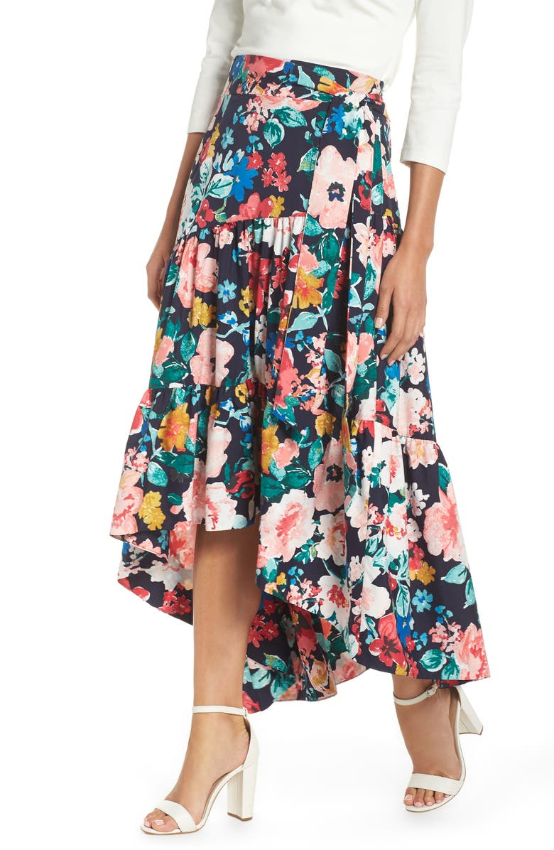 ELIZA J High/Low Tiered Skirt, Main, color, 410