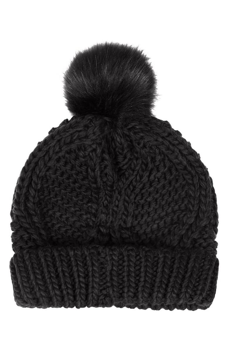 TOPSHOP Cable Knit Pompom Beanie, Main, color, 001