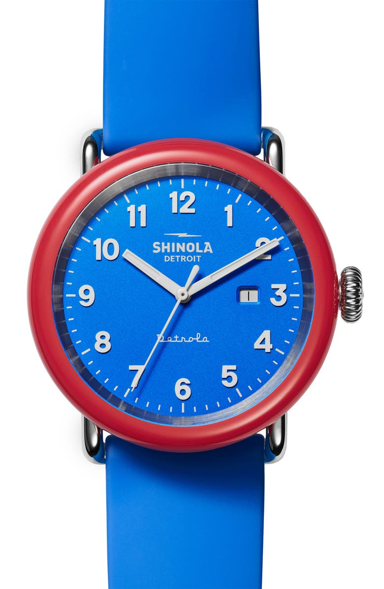 """SHINOLA Detrola """"The I Voted"""" Silicone Strap Watch, 43mm, Main, color, BLUE/ RED/ SILVER"""