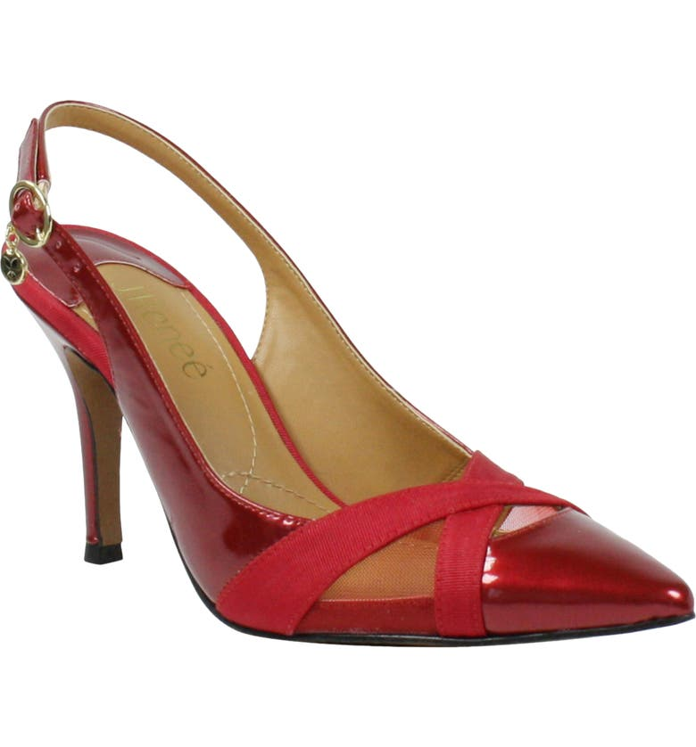 J. RENEÉ Benaki Pointed Toe Slingback Pump, Main, color, RED PATENT/ GROSGRAIN