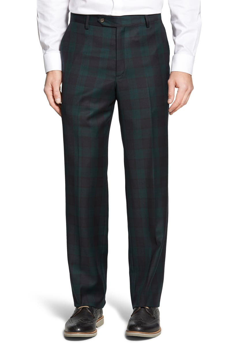 BERLE Touch Finish Flat Front Classic Fit Plaid Wool Trousers, Main, color, GREEN