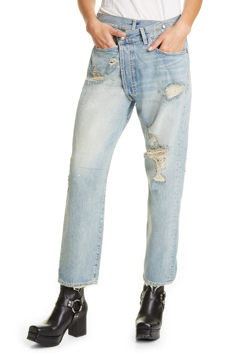 R13 Crossover Ripped Jeans, Main, color, 470