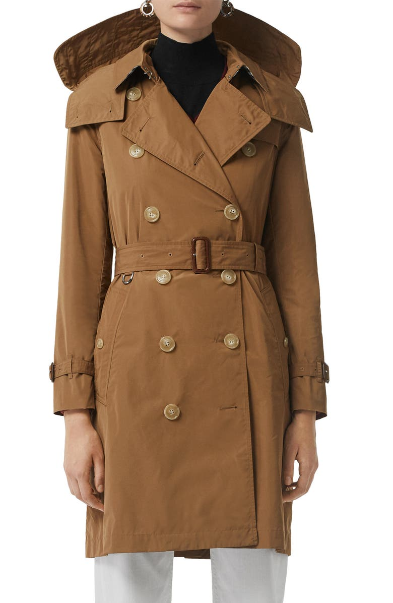 BURBERRY Kensington Trench Coat with Detachable Hood, Main, color, CAMEL