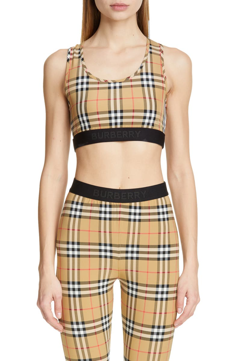 BURBERRY Dalby Vintage Check Bra, Main, color, ANTIQUE YELLOW CHK