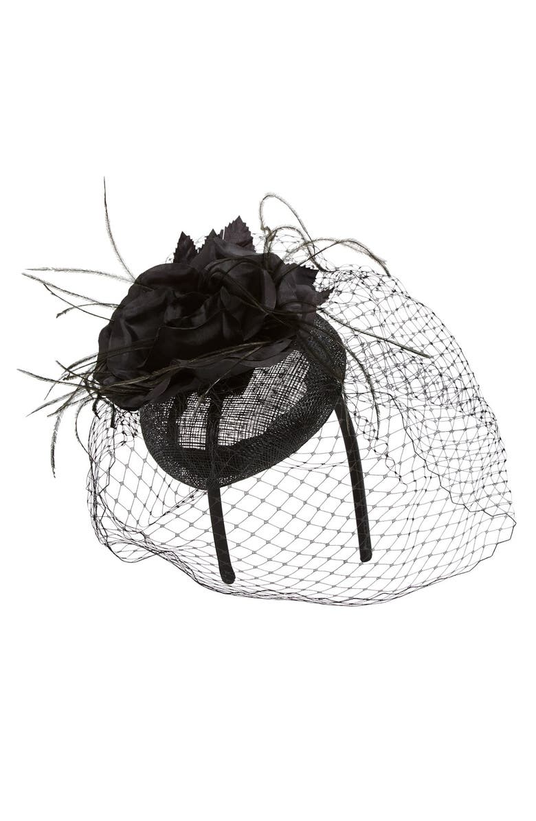 AUGUST HAT Veiled Floral Fascinator Headband, Main, color, 001