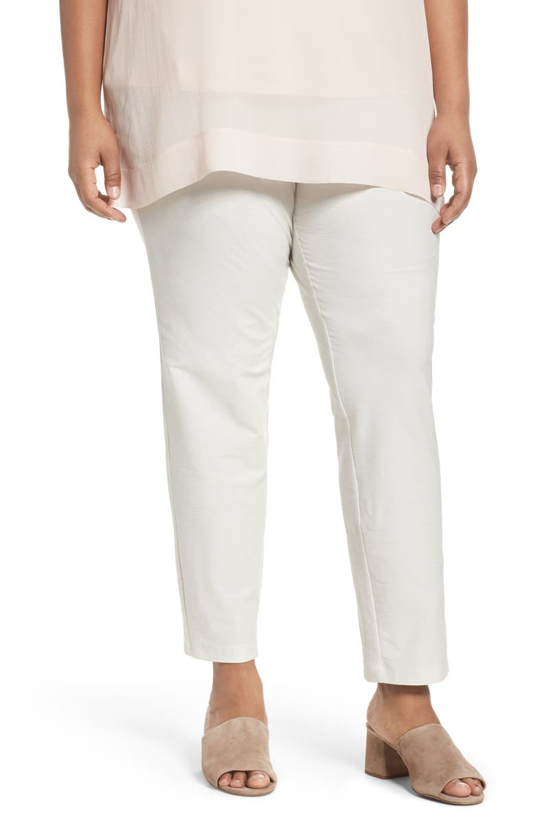 EILEEN FISHER Crepe Ankle Pants, Main, color, BONE