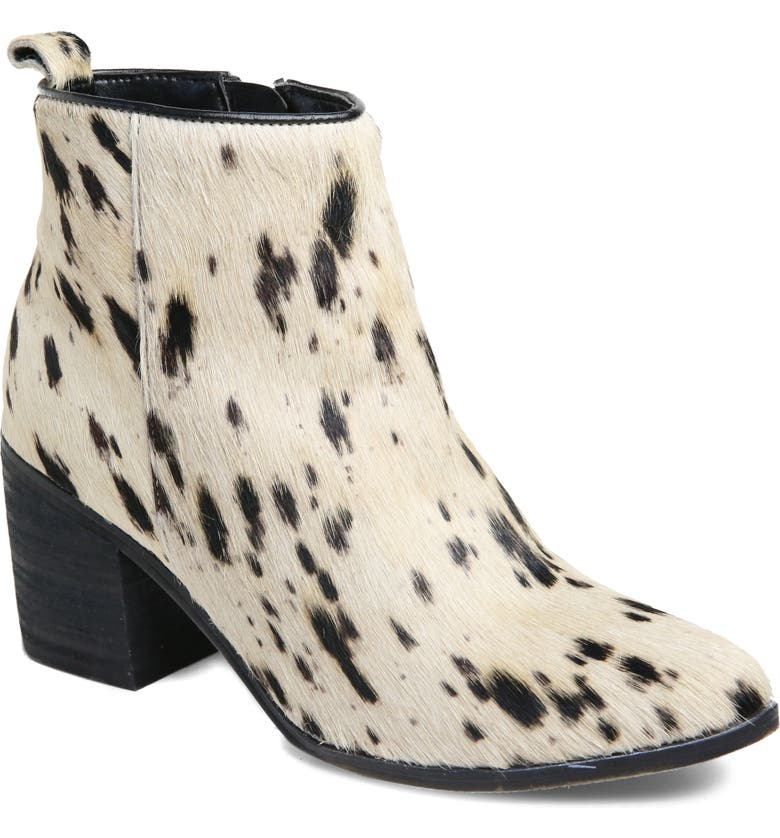 BAND OF GYPSIES Rodeo Bootie, Main, color, SPOTTED OFF-WHITE CALF HAIR