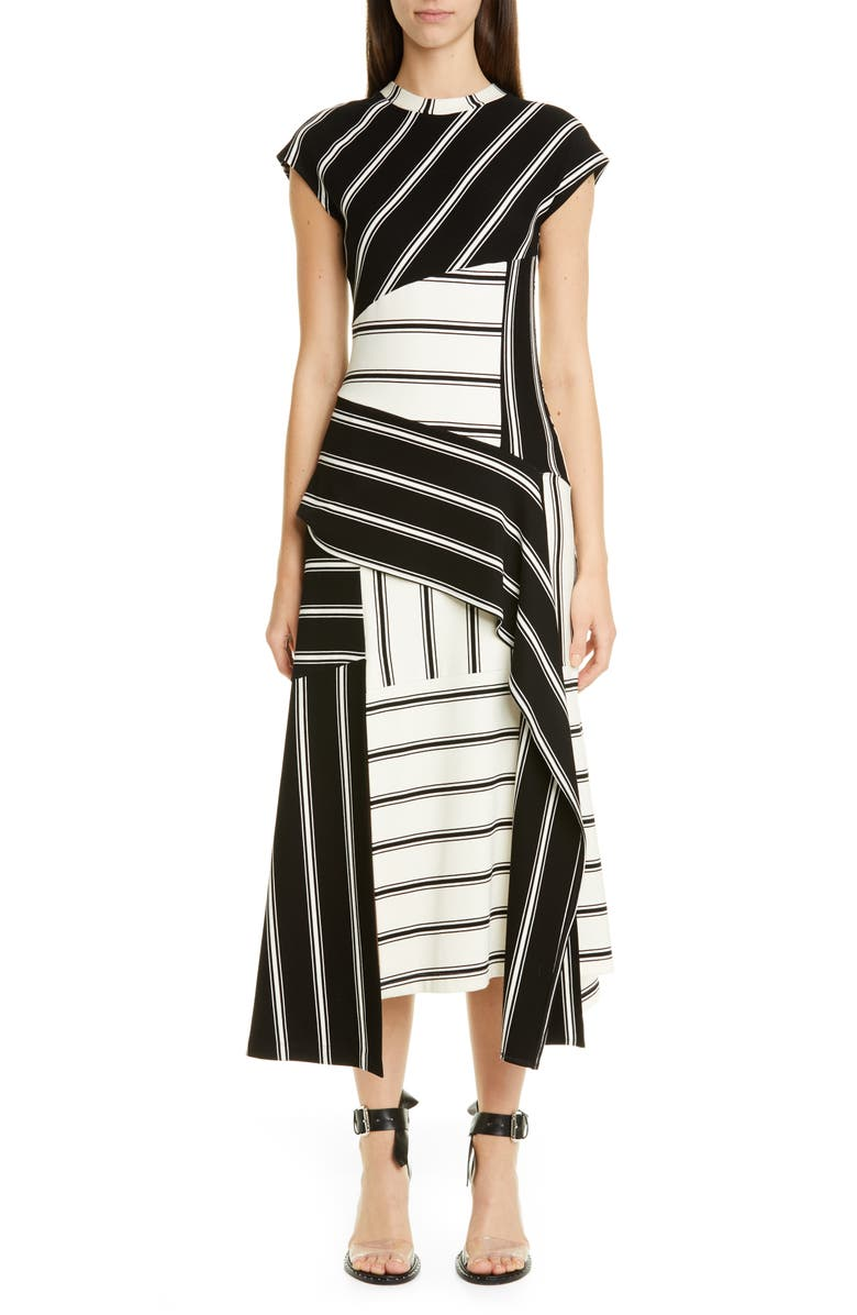 MONSE Asymmetrical Stripe Jersey Midi Dress, Main, color, 001