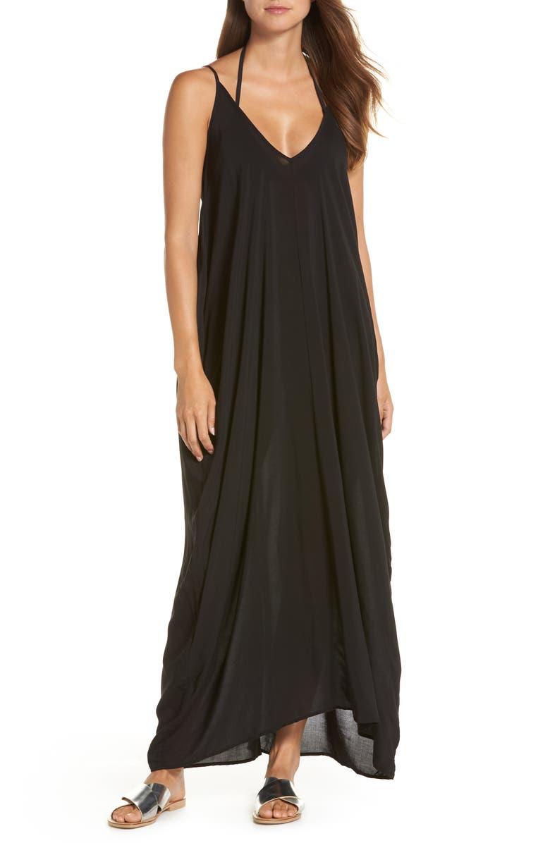 ELAN V-Back Cover-Up Maxi Dress, Main, color, BLACK
