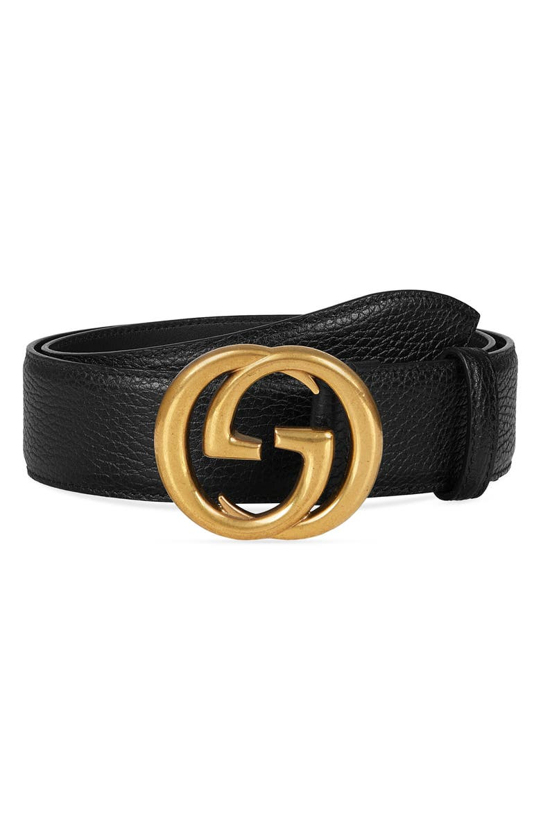 GUCCI Interlocking-G Calfskin Leather Belt, Main, color, 001