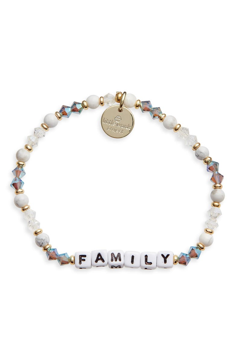 LITTLE WORDS PROJECT Family Beaded Stretch Bracelet, Main, color, MSH/ WHITE