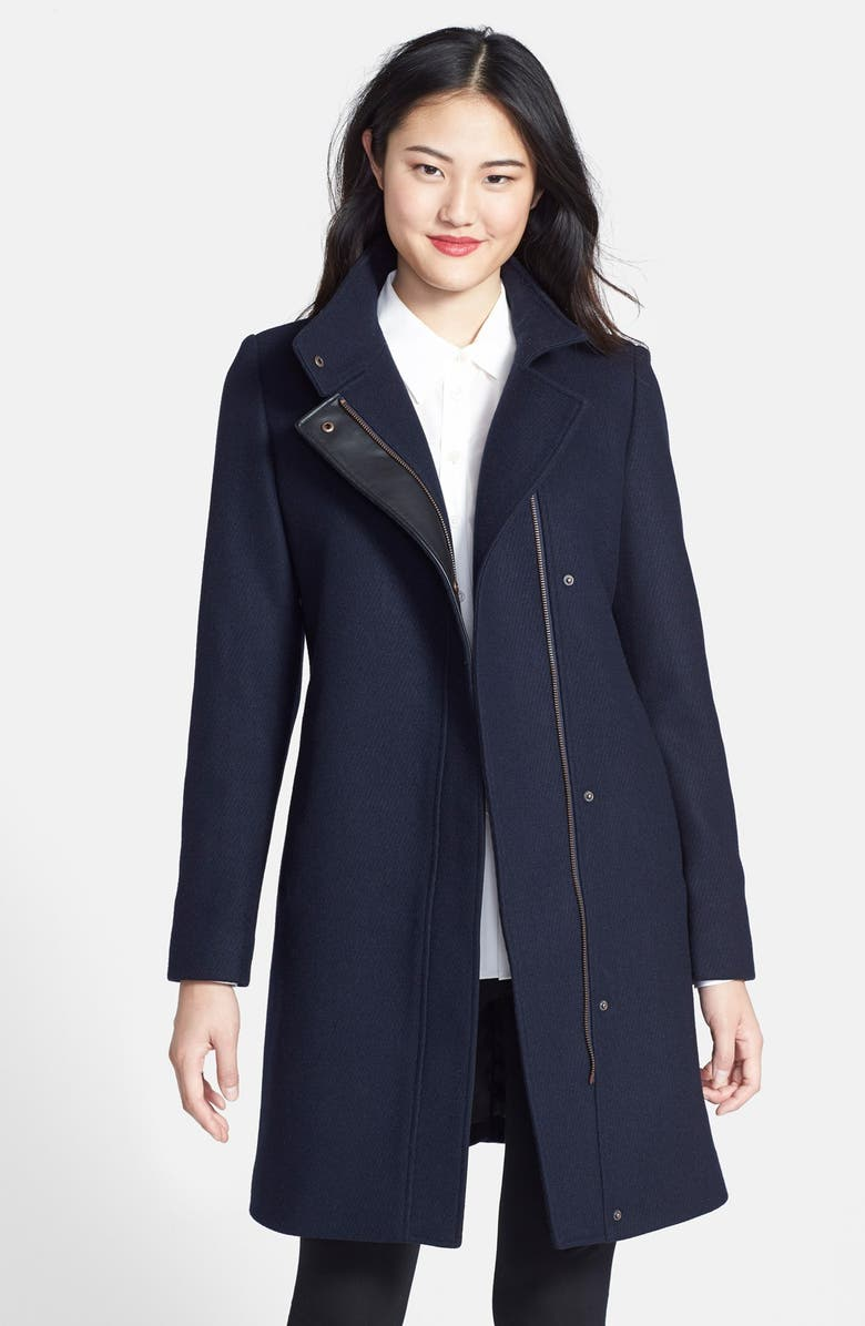 ANDREW MARC Marc New York 'Taylor' Wool Blend Twill Coat, Main, color, INK