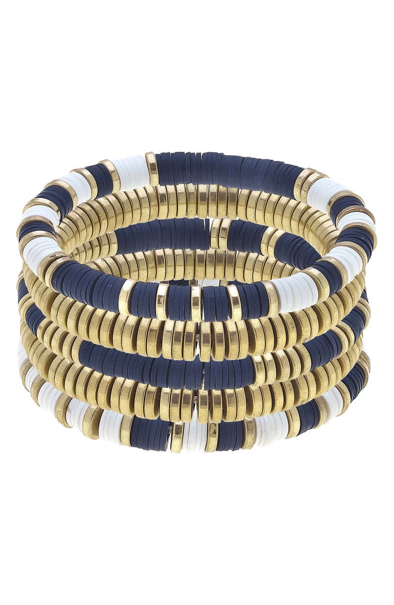 CANVAS JEWELRY Set of Five Beaded Stacking Bracelets, Main, color, NAVY/ WHITE/ GOLD