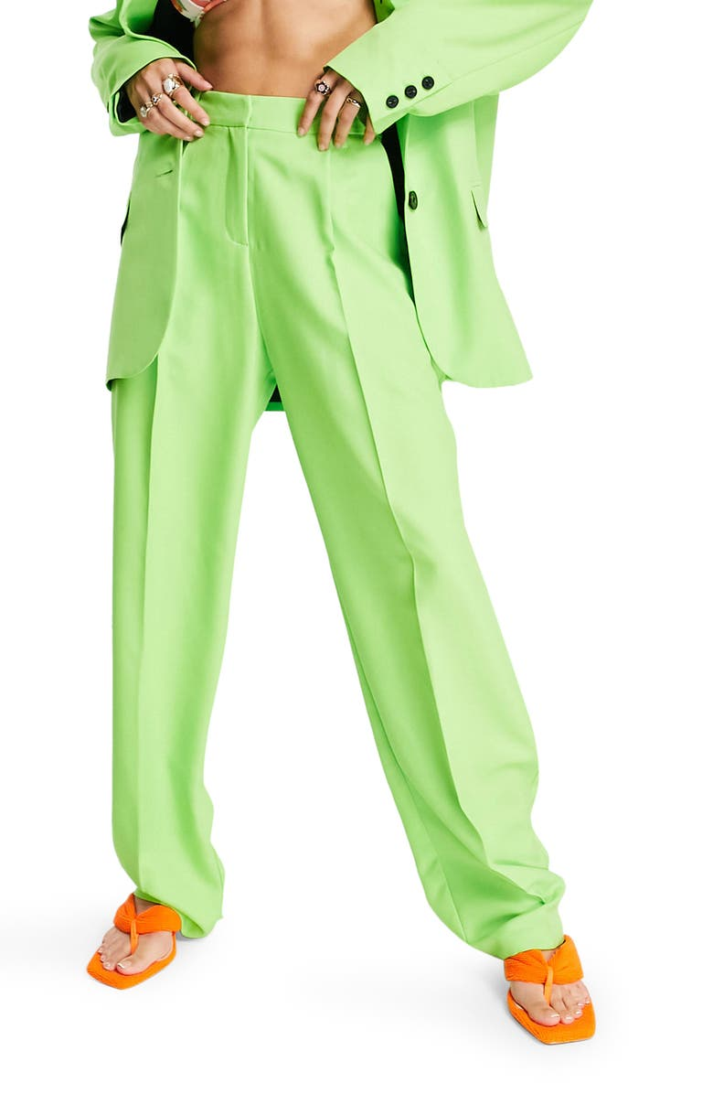 TOPSHOP Straight Leg Trousers, Main, color, MID GREEN