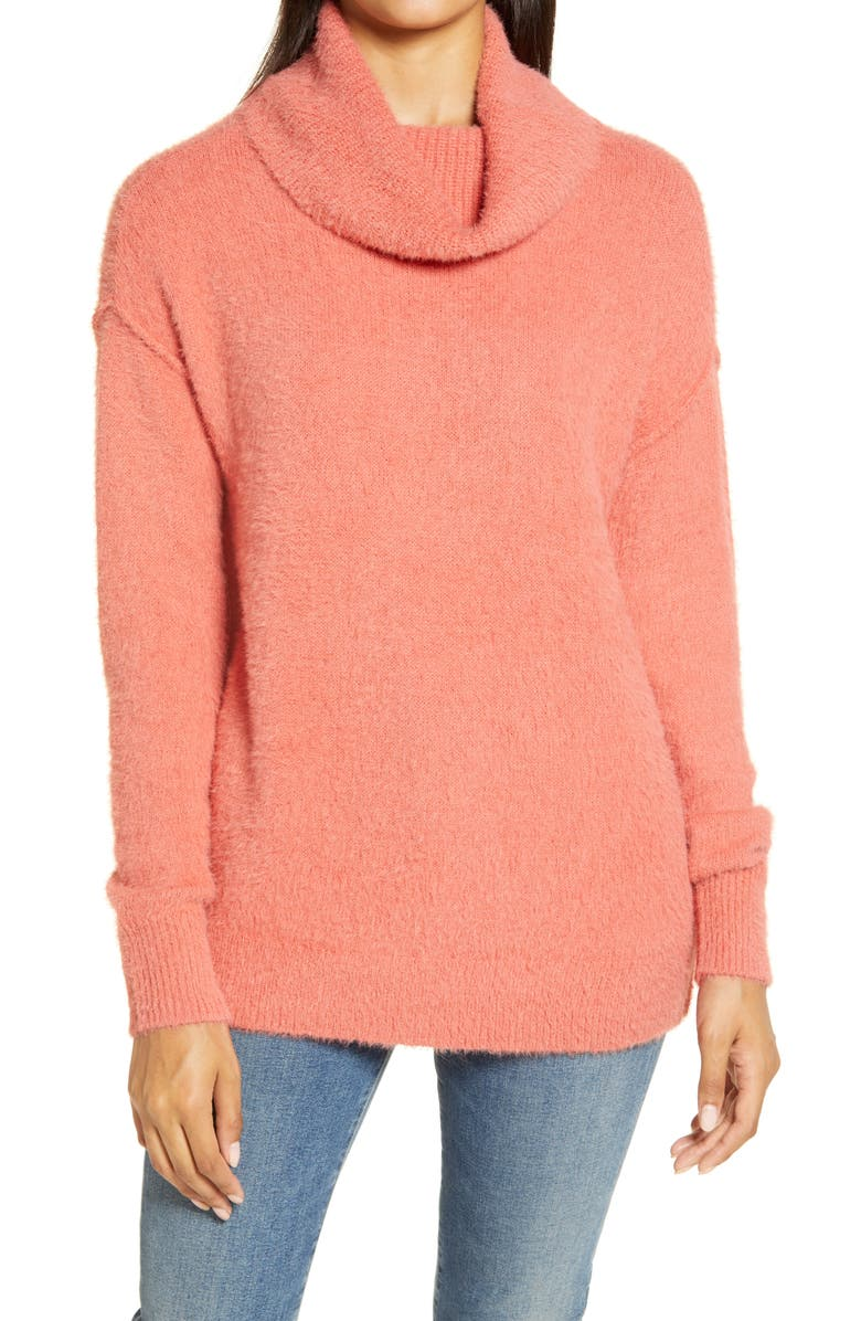 CASLON<SUP>®</SUP> Turtleneck Sweater, Main, color, CORAL FADED