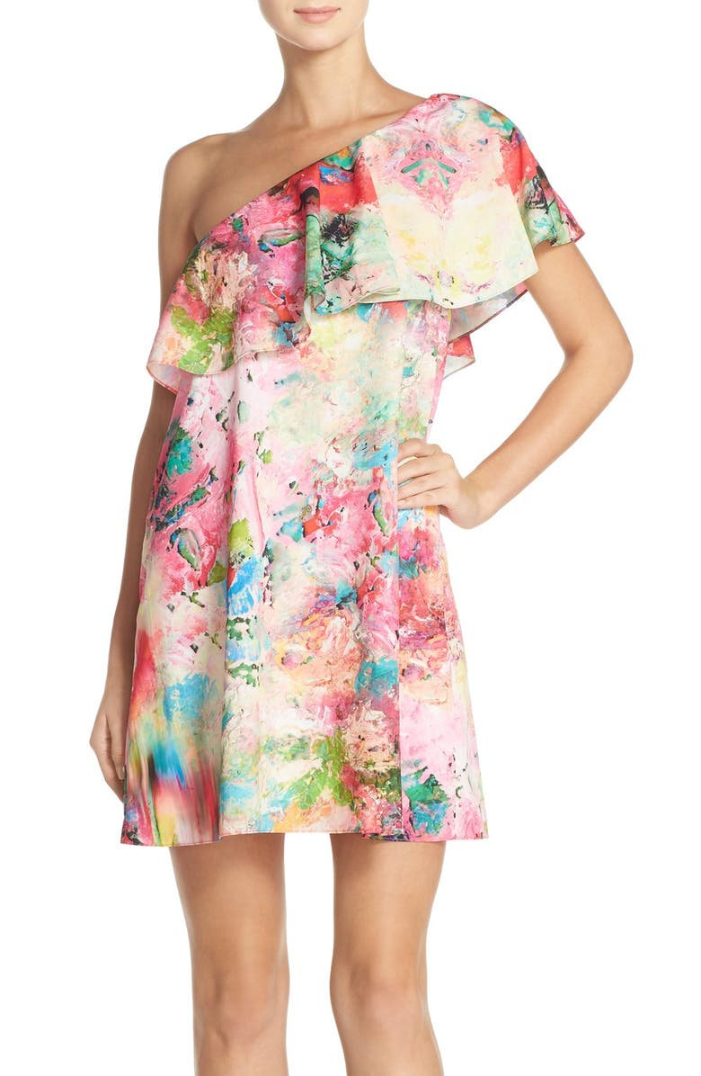 A BY AMANDA 'Zoe' Floral Print One Shoulder Dress, Main, color, 699