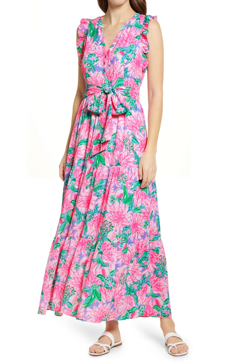 LILLY PULITZER<SUP>®</SUP> Destini Tie Waist Maxi Dress, Main, color, PINK BLOSSOM TRY YOUR ZEST