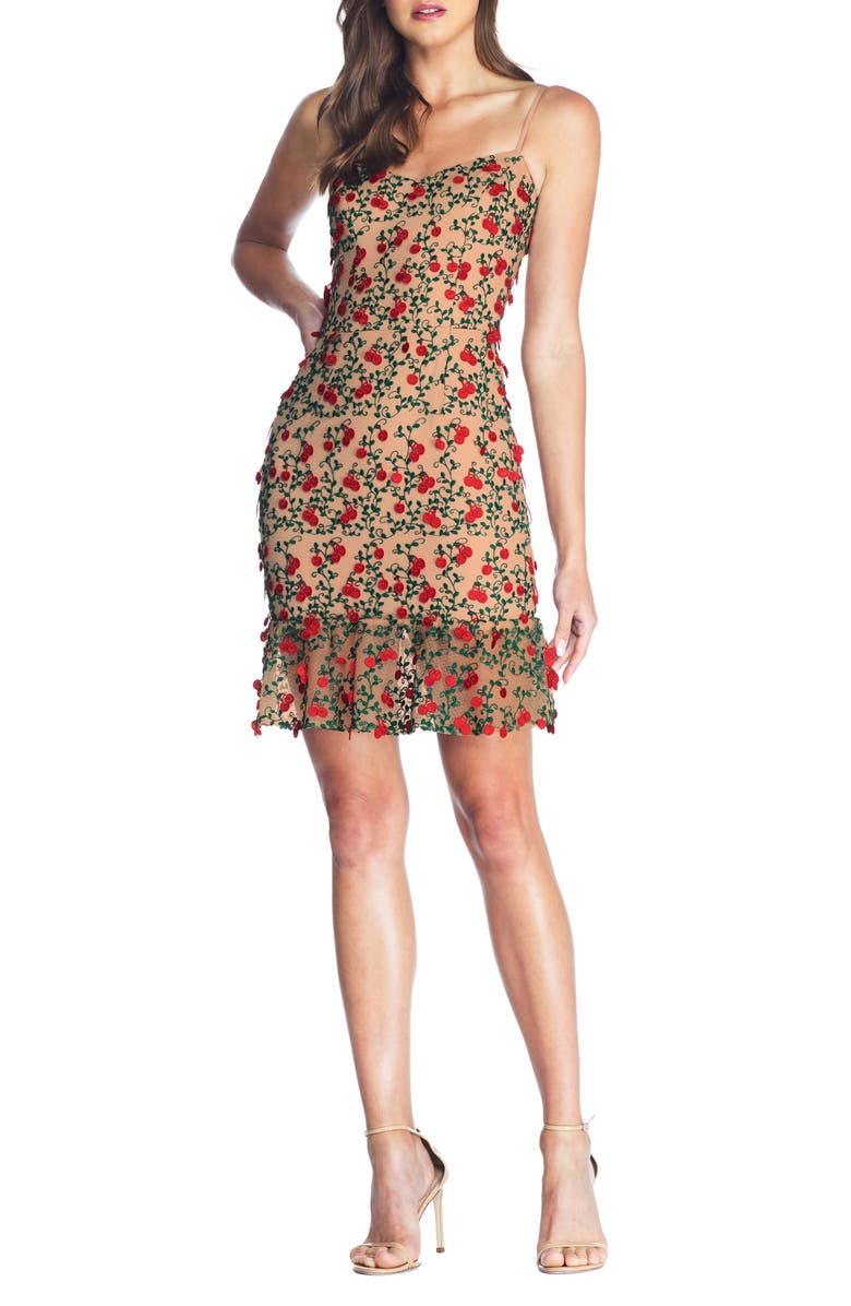 DRESS THE POPULATION Kaya Embroidered Minidress, Main, color, ROUGE RED MULTI