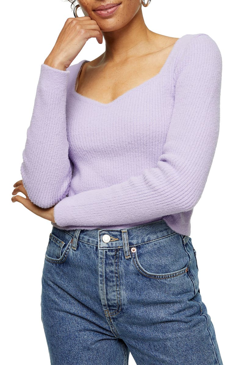 TOPSHOP Sweetheart Neck Fluffy Sweater, Main, color, LILAC