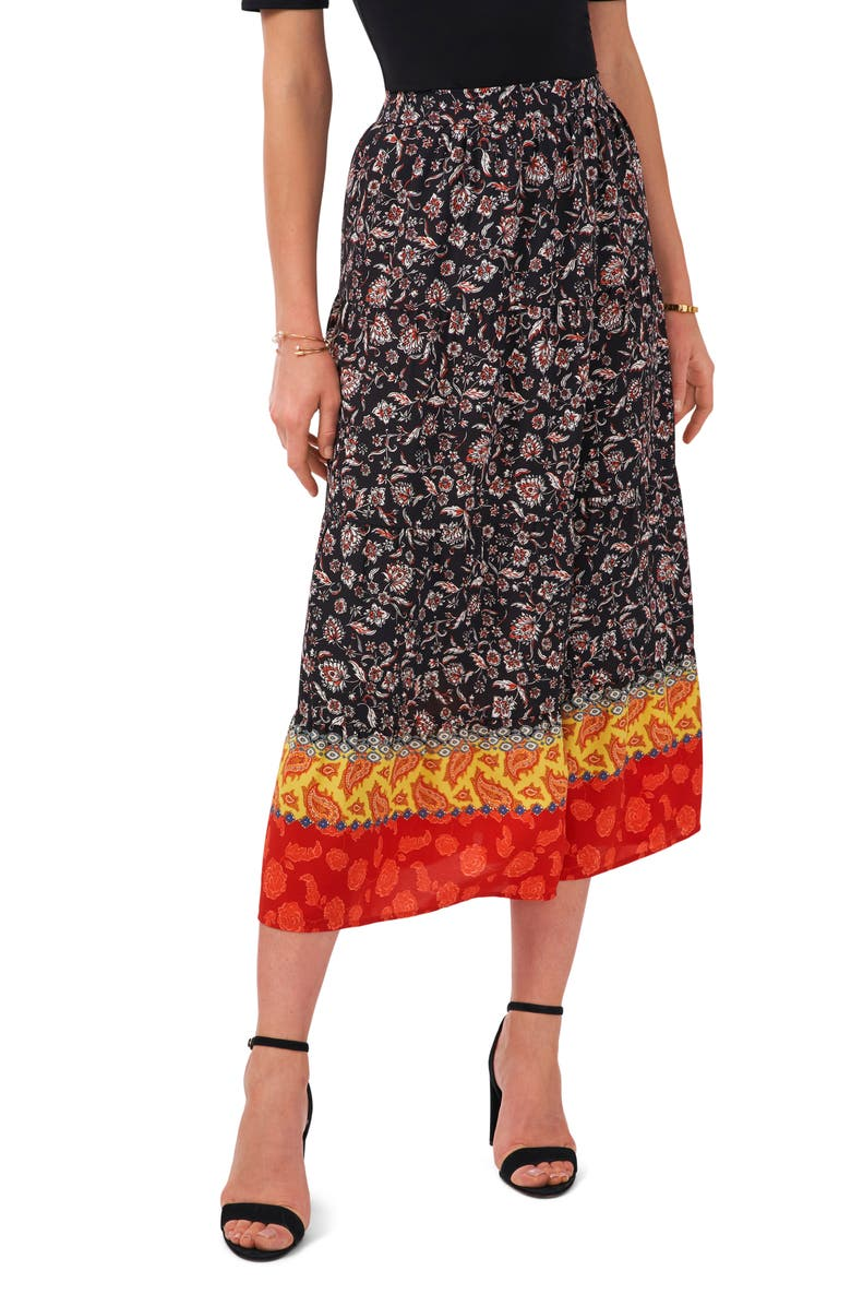 VINCE CAMUTO Floral Tiered Midi Skirt, Main, color, RICH BLACK