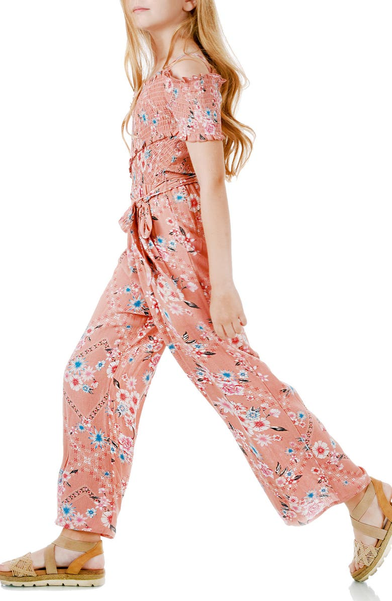 TRULY ME Cross Smocked Top Jumpsuit, Main, color, BLUSH/MUL
