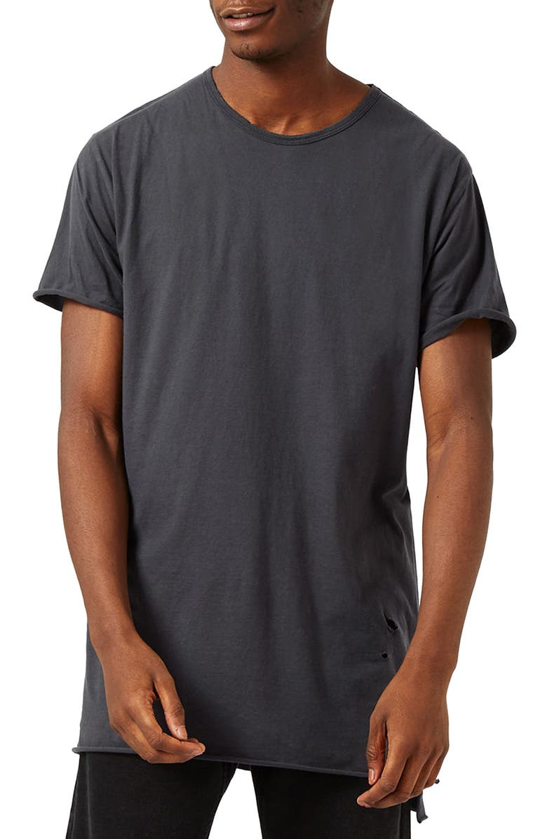 TOPMAN Distressed Longline T-Shirt, Main, color, 021