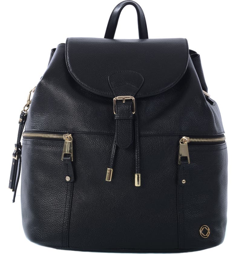 KERIKIT Thor Leather Diaper Backpack, Main, color, 001