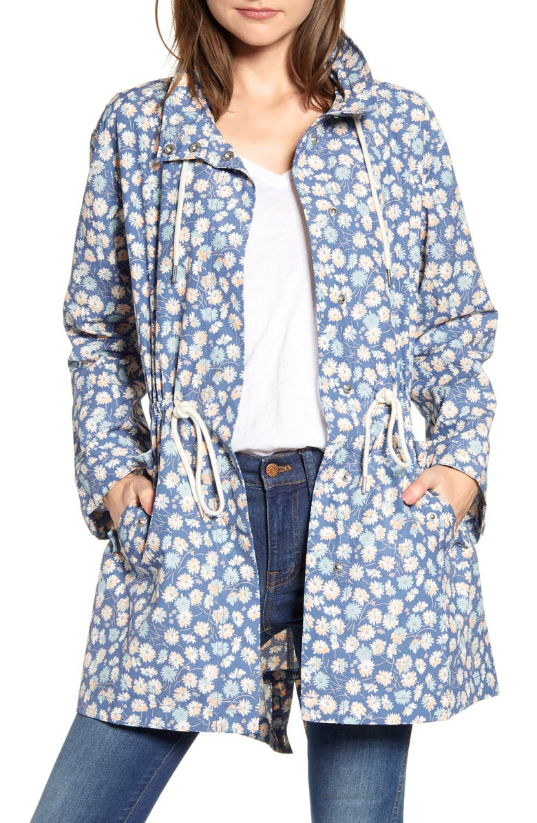 MADEWELL Ruffle Neck French Floral Raincoat, Main, color, BLUE MOON
