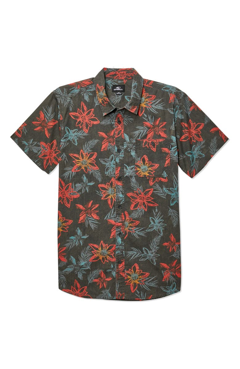 O'NEILL Threshold Short Sleeve Tropical Shirt, Main, color, 021