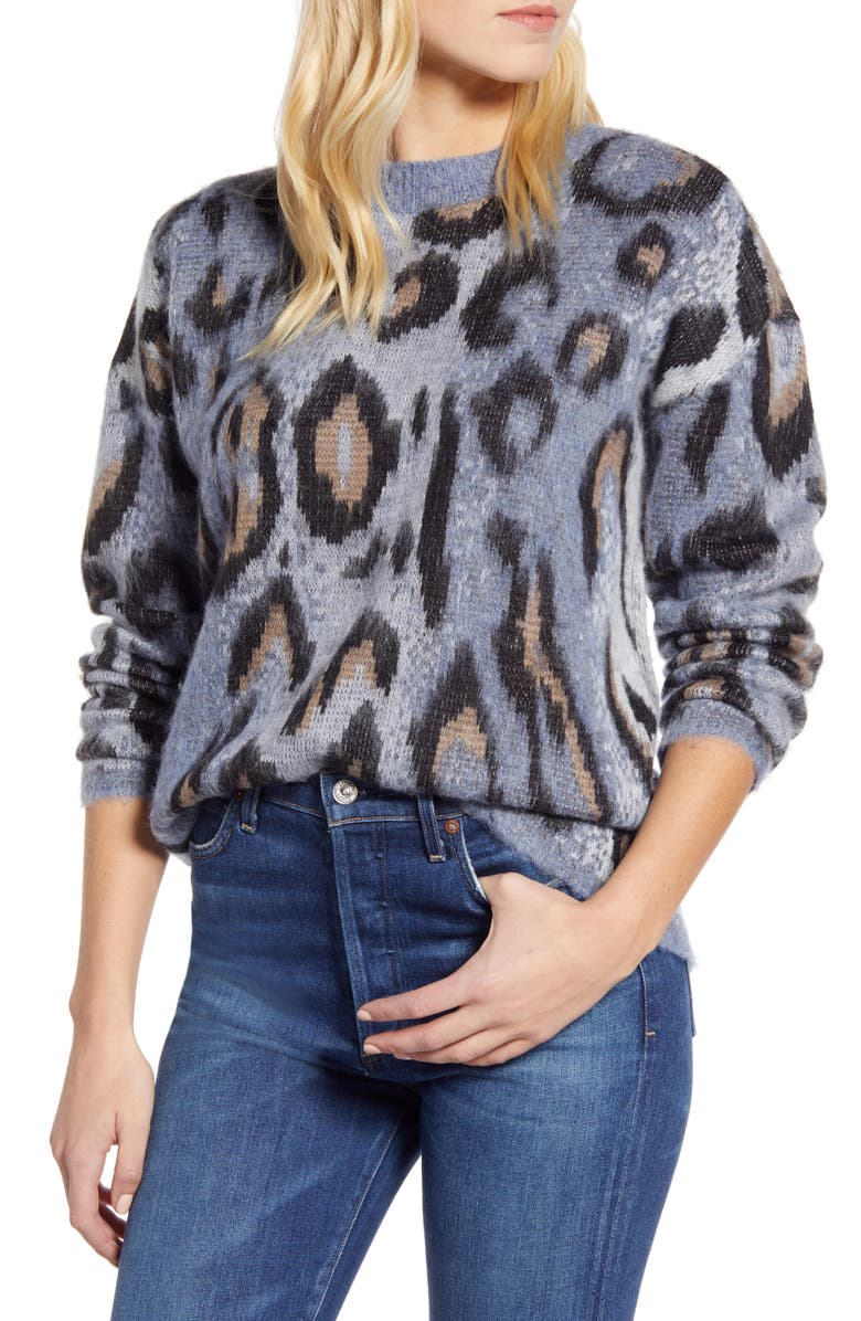 RD STYLE Leopard Jacquard Sweater, Main, color, 400
