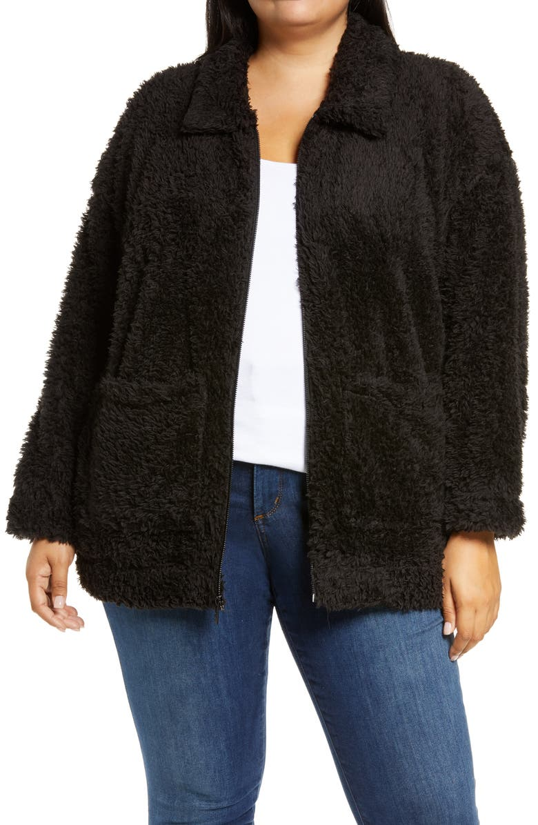 MARC NEW YORK PERFORMANCE Ultrasoft Faux Fur Jacket, Main, color, 001
