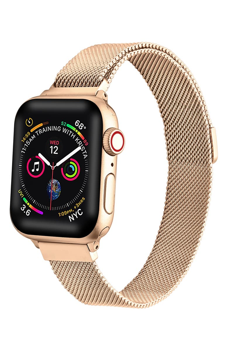 THE POSH TECH Skinny Mesh Bracelet Strap for Apple Watch<sup>®</sup>, Main, color, ROSE GOLD-42/ 44MM