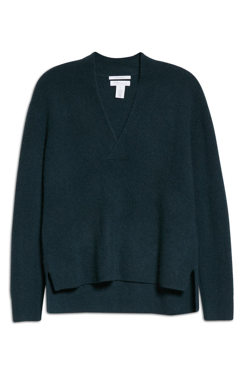 NORDSTROM SIGNATURE V-Neck Cashmere Sweater, Main, color, GREEN TIMBER