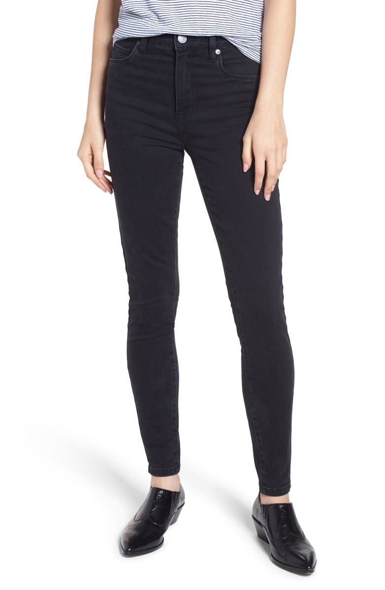 BLANKNYC The Great Jones High Rise Skinny Jeans, Main, color, DISTRICT 9 BLACK