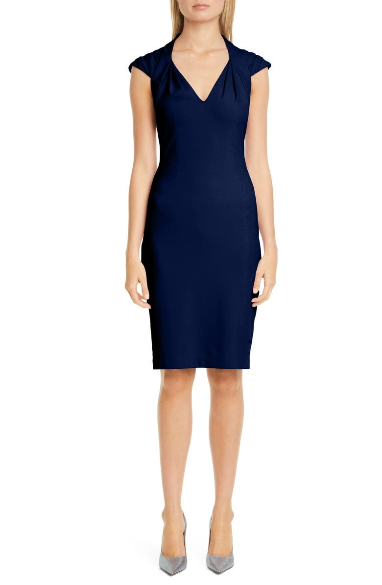 BADGLEY MISCHKA COLLECTION Odessa Pleat Cocktail Dress, Main, color, NAVY