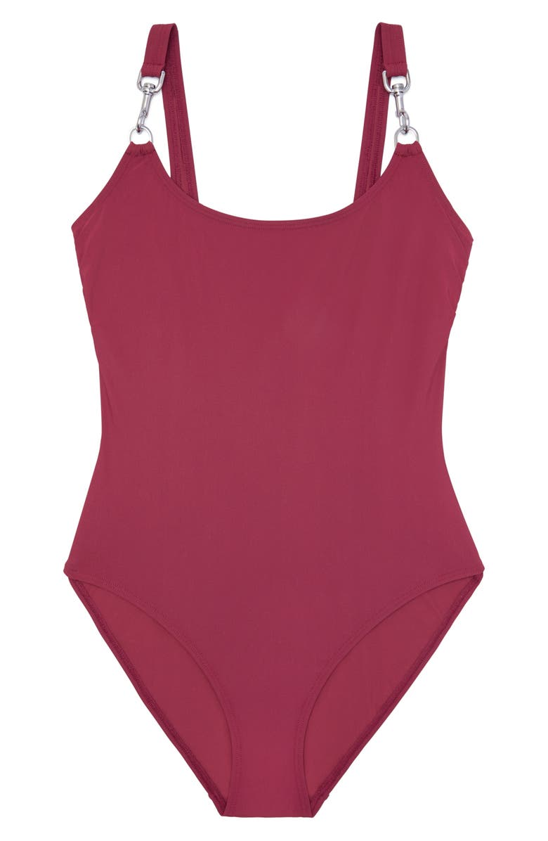 TORY BURCH Clip Tank One-Piece Swimsuit, Main, color, IMPERIAL GARNET