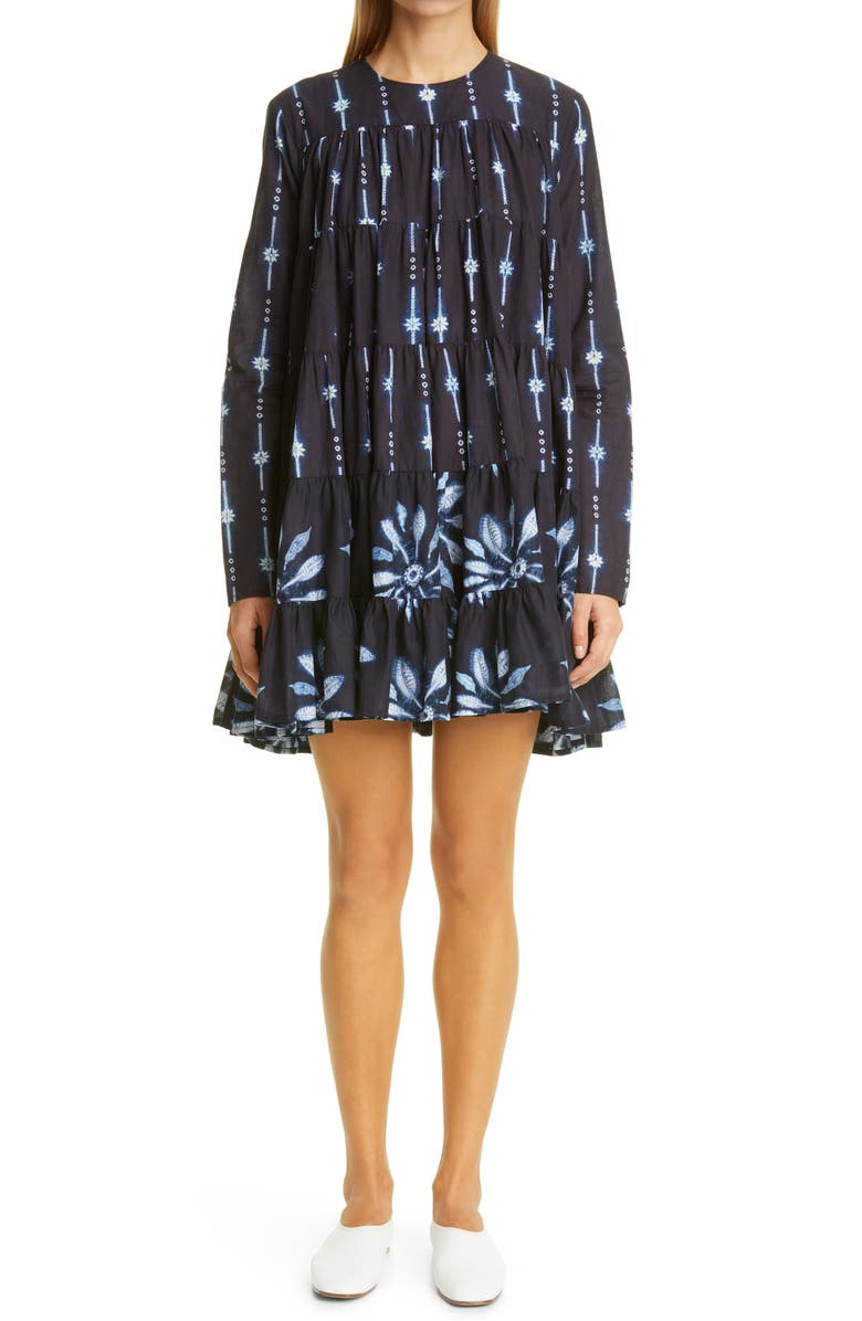 MERLETTE Soliman Tiered Long Sleeve Dress, Main, color, NAVY / COMBO PRINT