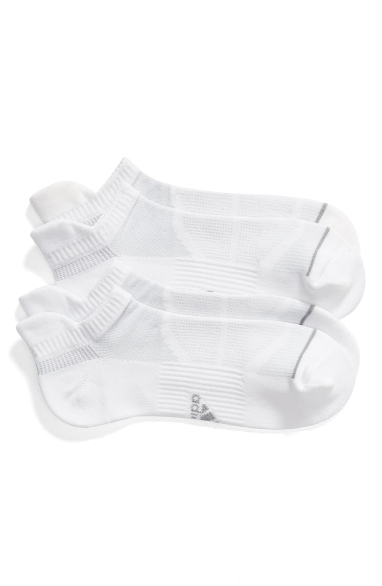 ADIDAS Prime Mesh III 2-Pack Tab No-Show Socks, Main, color, WHITE/ CLEAR GREY/ LIGHT ONIX