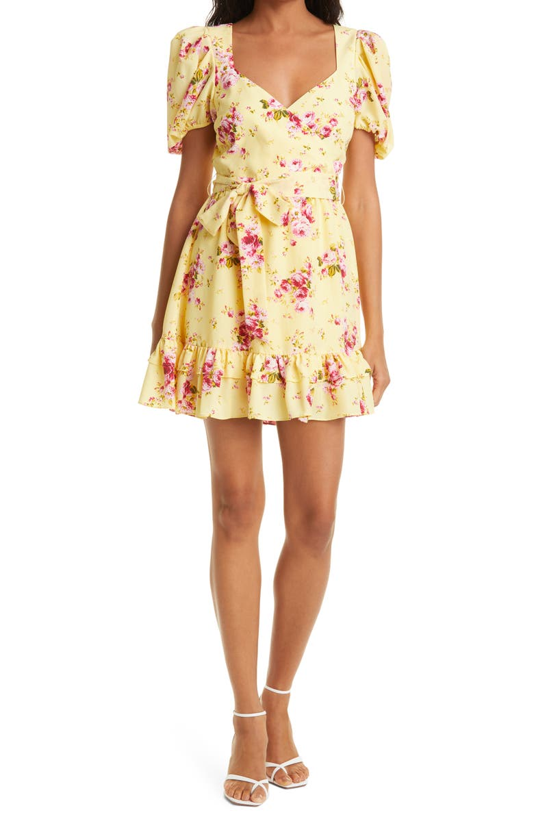 LIKELY Quinn Floral Belted Minidress, Main, color, SNAPDRAGON MULTI