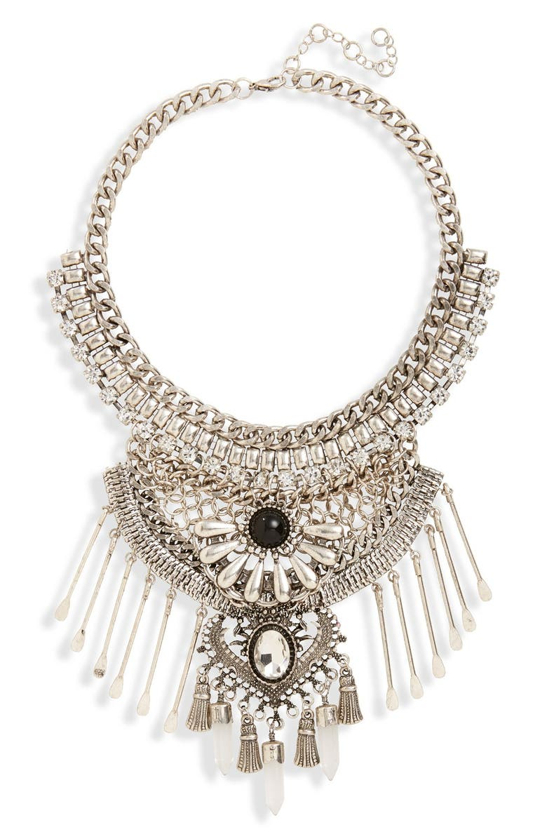 LEITH Stone & Spoon Charm Statement Necklace, Main, color, 040