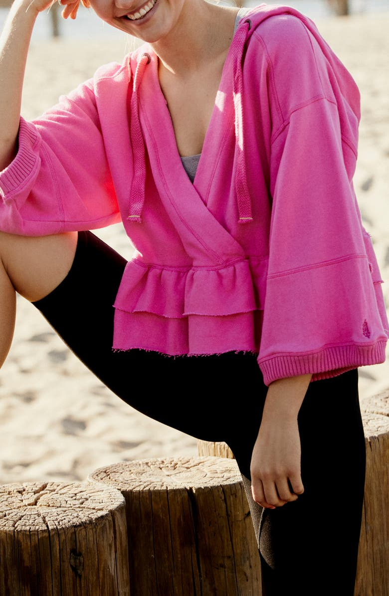 FREE PEOPLE FP MOVEMENT Side Swept Ruffle French Terry Hoodie, Main, color, MIAMI PINK