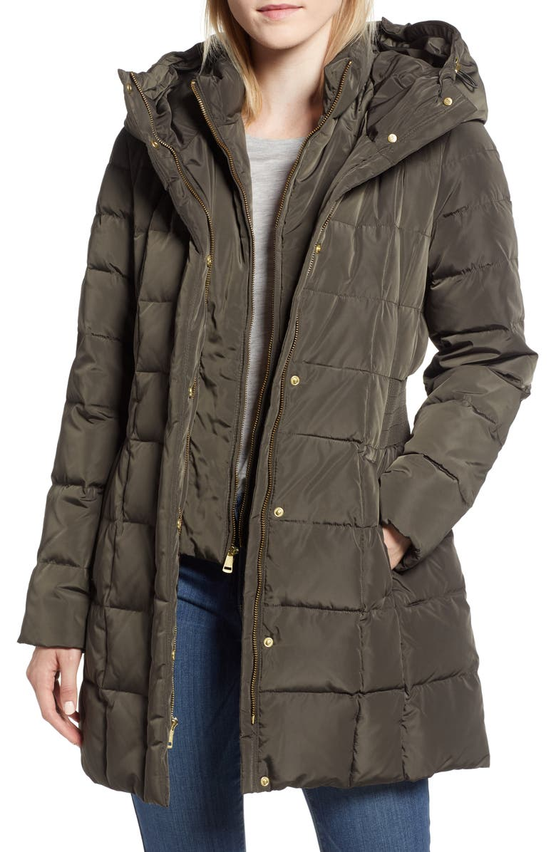 COLE HAAN SIGNATURE Cole Haan Hooded Down & Feather Jacket, Main, color, FOREST