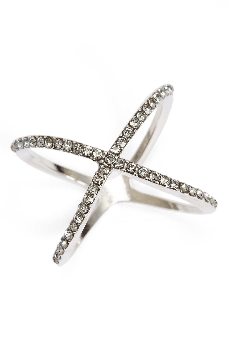 BP. Rhinestone Crossover Ring, Main, color, 001