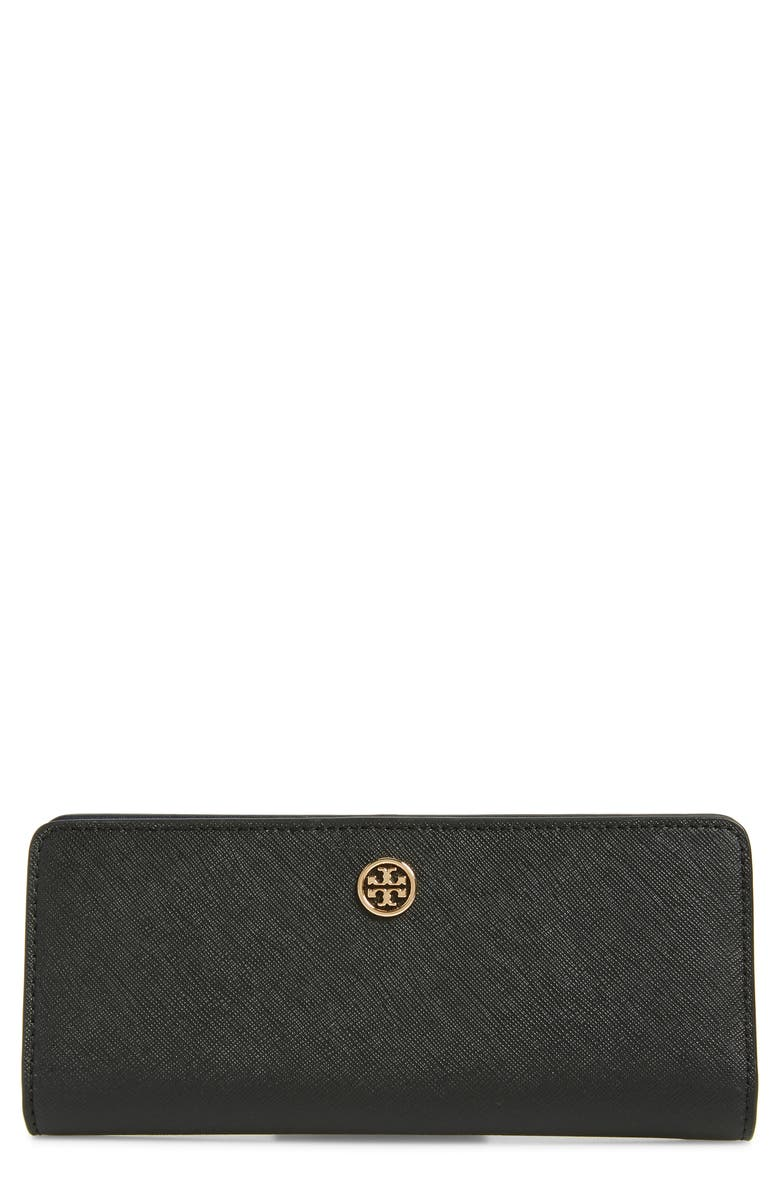 TORY BURCH Robinson Saffiano Leather Continental Wallet, Main, color, BLACK / ROYAL NAVY
