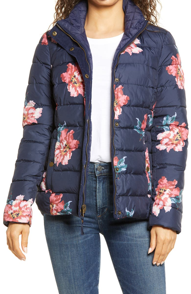 JOULES Highgrove Reversible Quilted Floral Puffer Jacket, Main, color, MARNAVY